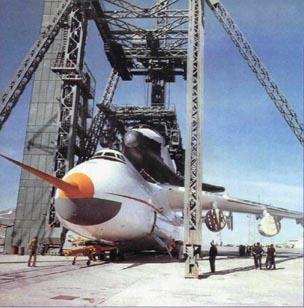 Установка «Бурана» на Ан-225. Аэродром Байконур, май 1989 г.