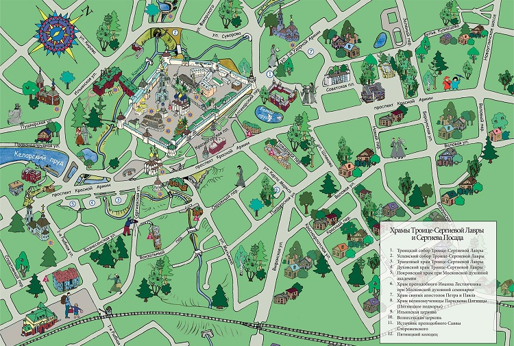 Карта Сергиева Посада для паломников