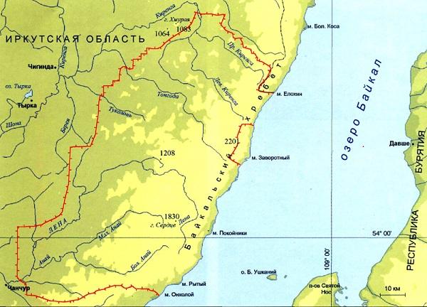 Байкало-Ленский заповедник карта